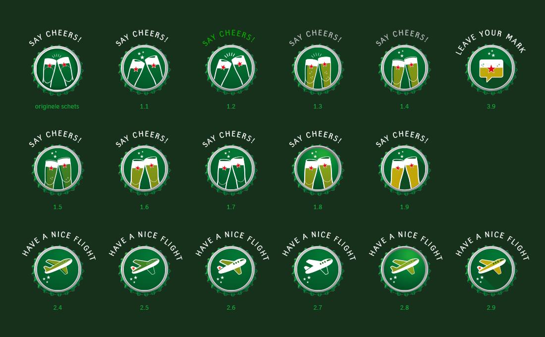 Heineken iconen schetsen fase 1